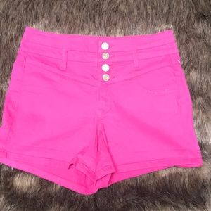 Pants - HIGH-WAISTED PINK SHORTS